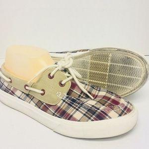 Mens CHAPS Plaid boat dock shoes 8M Ralph Lauren